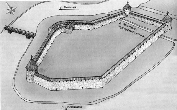 Чертеж Островской крепости